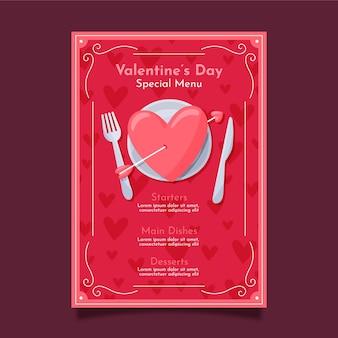 Plantilla de menú de san valentín dibujado a mano