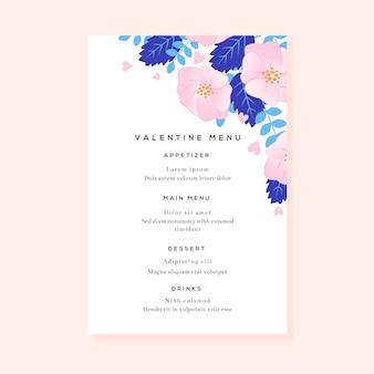 Plantilla de menú de san valentín de diseño plano con flores