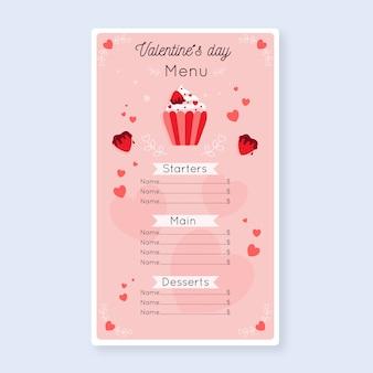 Plantilla de menú de san valentín en diseño plano
