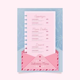 Plantilla de menú de san valentín diseño rosa