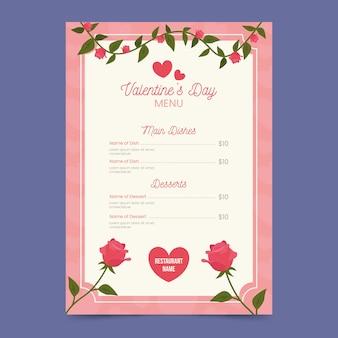 Plantilla de menú de san valentín floral plano