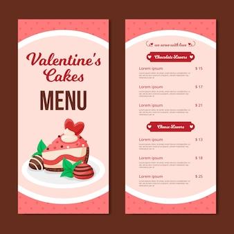 Plantilla de menú de san valentín con pastel