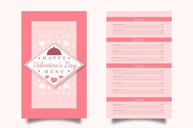 Plantilla de menú de san valentín plana rosa