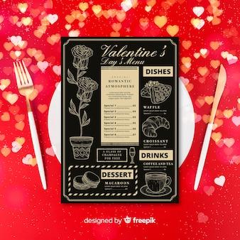 Plantilla de menú de san valentín