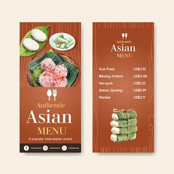 Plantilla de menú con snack indonesio
