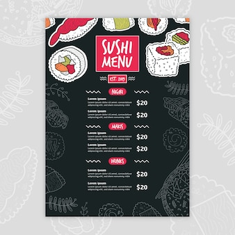 Plantilla de menú de sushi moderno