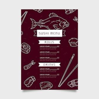 Plantilla de menú de sushi