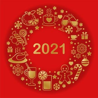Plantilla para menú y tarjeta de navidad y año nuevo. estilo de contorno simple