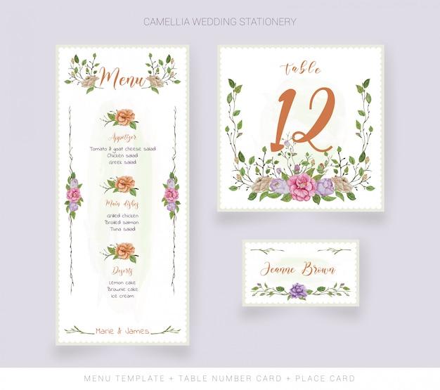 Plantilla de menú, tarjeta de nombre y tarjeta de número de mesa con flores de acuarela