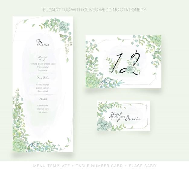 Plantilla de menú, tarjeta de número de mesa, tarjeta de lugar con hojas de acuarela