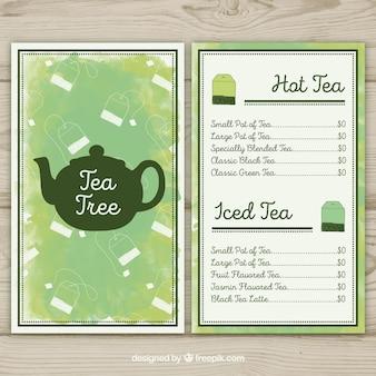 Plantilla de menú de té con estilo de acuarela