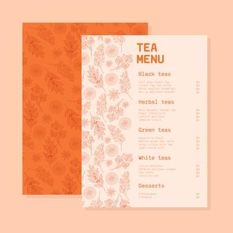 Plantilla de menú de té con flores.