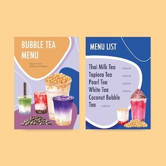 Plantilla de menú con té con leche de burbujas