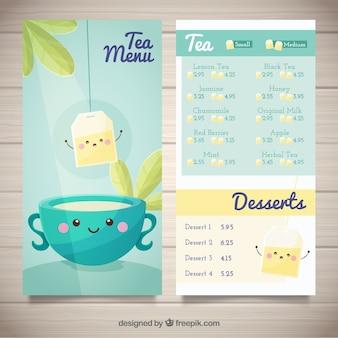 Plantilla de menú de té con lista de bebidas