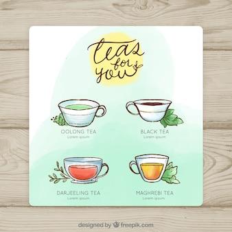 Plantilla de menú de tés en acuarela