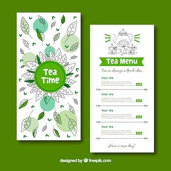 Plantilla de menú de tés dibujado a mano