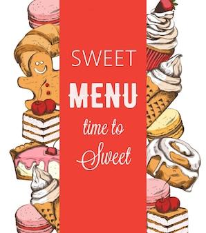 Plantilla de menú de tienda de panadería con varios dulces.