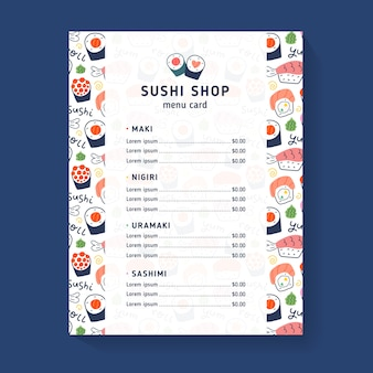 Plantilla de menú de tienda de sushi