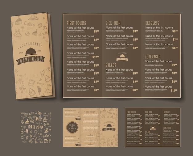 Plantilla de menú triple plegable para cafeterías y restaurantes