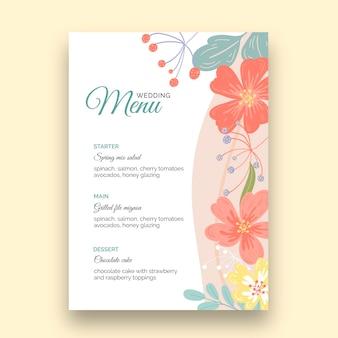 Plantilla de menú vertical de boda floral