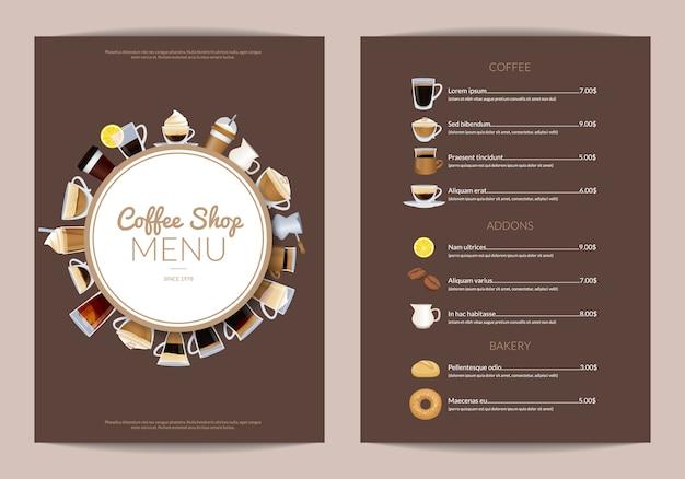 Plantilla de menú vertical de cafetería. menú de cafetería con copa de café expreso y capuchino.