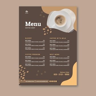 Plantilla de menú vertical de cafetería