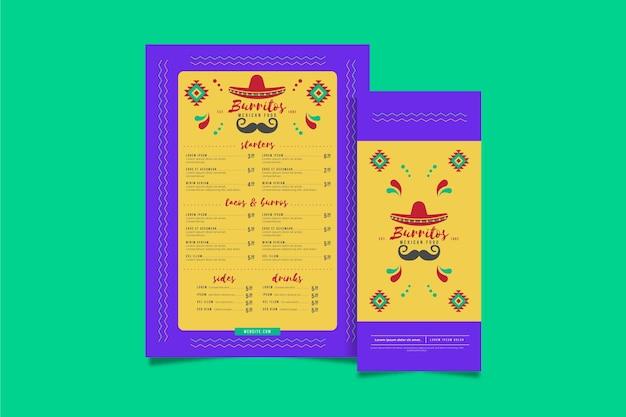 Plantilla de menú vertical de restaurante de comida mexicana