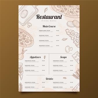 Plantilla de menú vertical de restaurante rústico dibujado a mano grabado