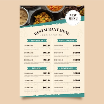 Plantilla de menú vertical de restaurante rústico plano orgánico con foto