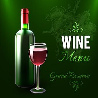 Plantilla del menú del vino