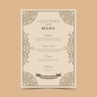 Plantilla de menú vintage de san valentín