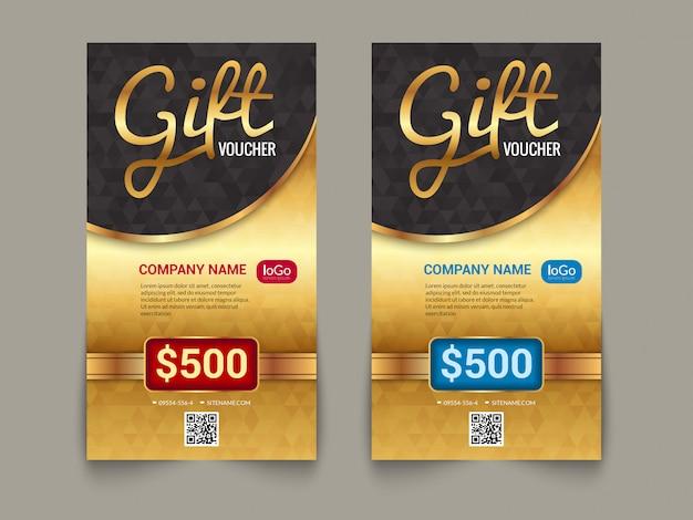 Plantilla de mercado de vales de regalo con diseño de mercado de etiqueta dorada