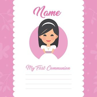 Plantilla de mi primera comunión con diseño de niña