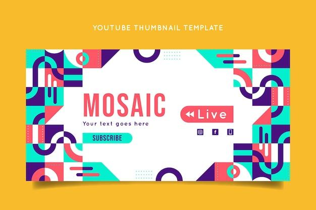 Plantilla de miniatura de youtube de mosaico plano