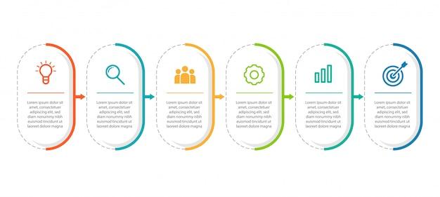 Plantilla mínima de infografías de negocios con 6 pasos