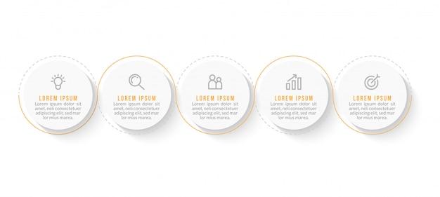 Plantilla mínima de infografías de negocios con cinco pasos