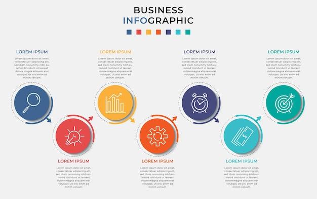 Plantilla mínima de infografías de negocios. línea de tiempo con siete pasos, opciones e iconos de marketing.