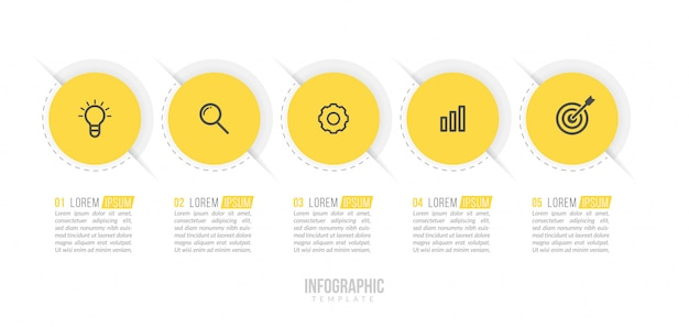 Plantilla mínima de infografías de negocios.