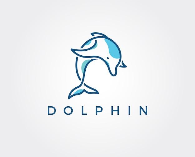 Plantilla mínima de logotipo de delfín