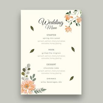 Plantilla mínima de menú de boda