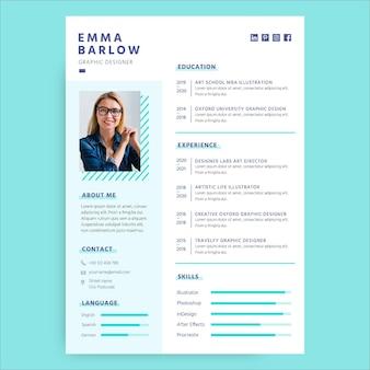 Plantilla minimalista de currículum general azul claro