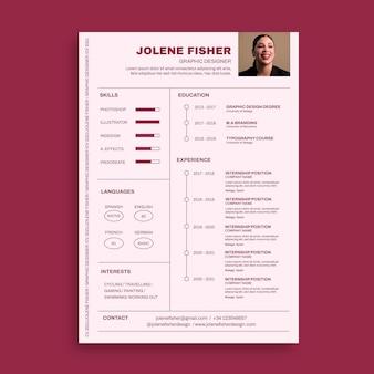 Plantilla minimalista de curriculum vitae de diseñador jolene monocolor