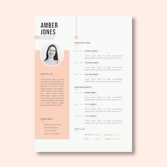 Plantilla minimalista de curriculum vitae rosa pastel
