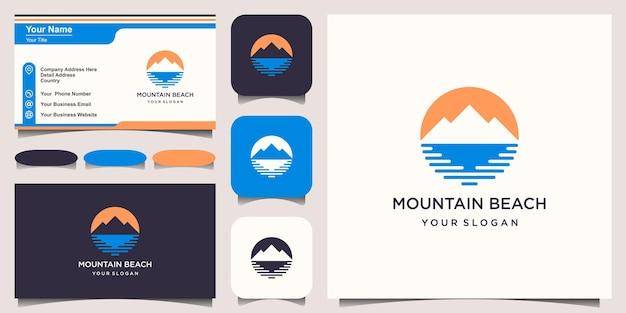Plantilla minimalista de diseño de logotipo de montaña y ola.