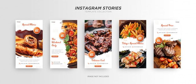 Plantilla minimalista de historia de instagram de redes sociales de pincel de alimentos