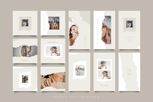 Plantilla minimalista de papel rasgado para publicaciones e historias en redes sociales