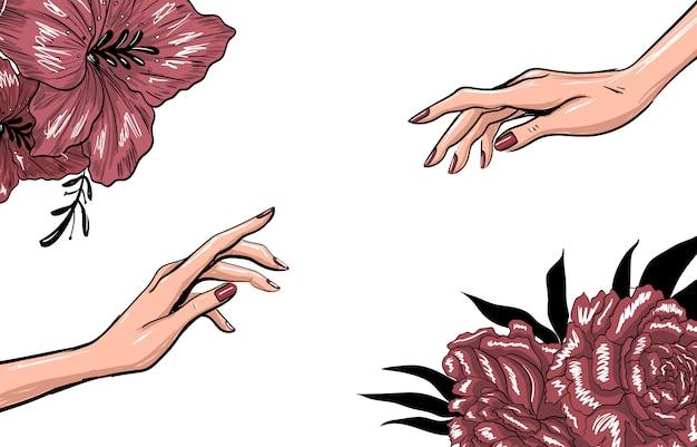 Plantilla de moda de arte con manos y flores.