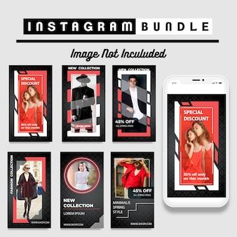 Plantilla de moda de la historia de instagram moderna en rojo