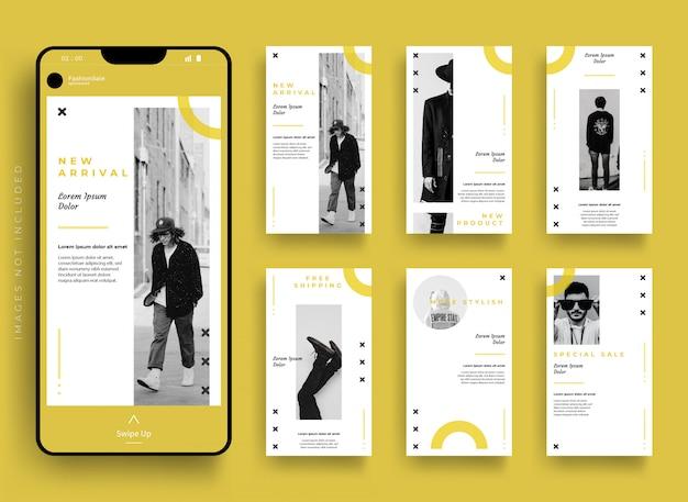 Plantilla de moda kit de paquete de historias de instagram de redes sociales