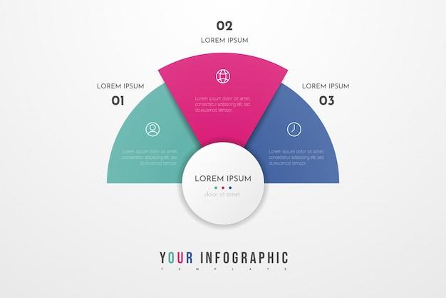 Plantilla moderna abstracta para crear infografías con tres opciones. tabla circular se puede utilizar para el diseño del flujo de trabajo, presentaciones, informes, visualizaciones, diagramas, diseño web, educación.